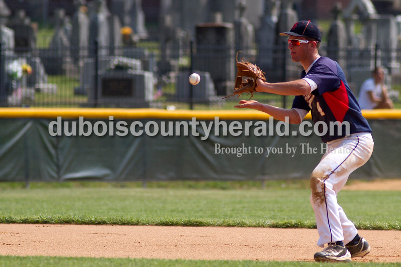 Brooke Stevens/The Herald<br /> Heritage Hills' Damon Wahl caught the ball during Mondays Class 3A Baseball Sectional at Jasper. Heritage Hills defeated Vincennes 3-1.