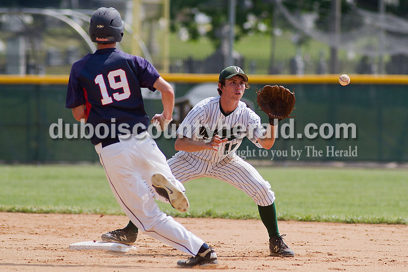 Brooke Stevens/The Herald<br /> Heritage Hills' Adam Price ran toward second with Vincennes' Nick Klumpp covered the plate during Mondays Class 3A Baseball Sectional at Jasper. Heritage Hills defeated Vincennes 3-1.