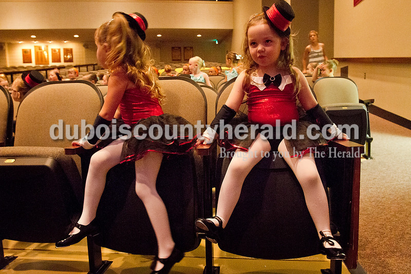 Brooke Stevens/The Herald<br /> Tap dancers Alexis Boyd, 4, left, and Emily Warner, 3, waited to practice their tap routine Friday evening at the Jasper Arts Center during dress rehearsal for Dance Central Academy's recital. Performers age 3-8 danced, sang, and acted during rehearsal for the following days recital at the Jasper Arts Center.