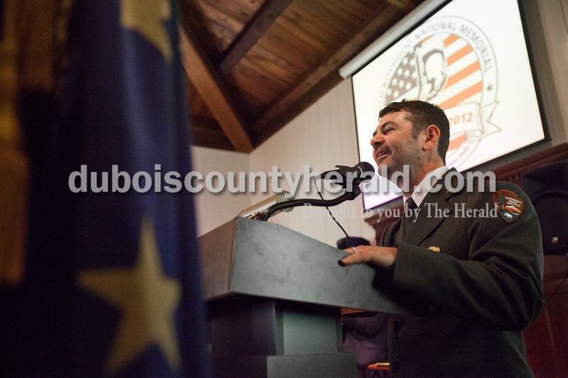 Rachel Mummey/The Herald<br /> Lincoln Boyhood National Memorial Superintendent Kendell Thompson spoke at the naturalization ceremony at the Lincoln Boyhood National Memorial on Tuesday. The event coincided with the park's fiftieth anniversary.