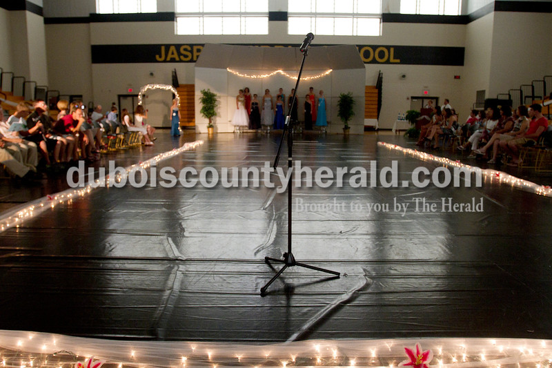 Olivia Corya/The Herald<br /> During one part of the Dubois County 4-H Fair Queen Contest, the fourteen participants had to improvise answers to unrehearsed questions in front of the audience and judges at Jasper Middle School Saturday. Rhegann B. Fetter of Huntingburg, 18, was crowned Queen, and she will reign over the fair from July 15 to 21.