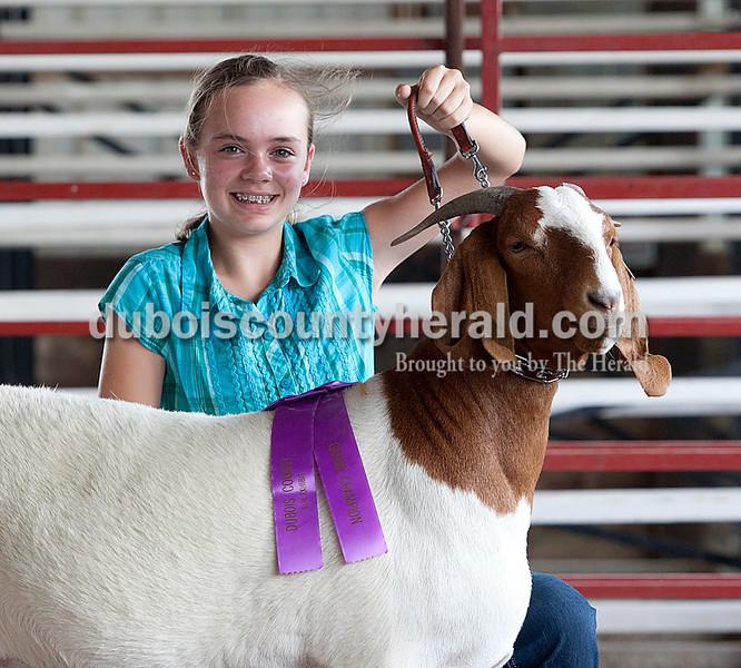 Sara Gress: grand champion wether goat, grand champion meat goat, intermediate champion showman