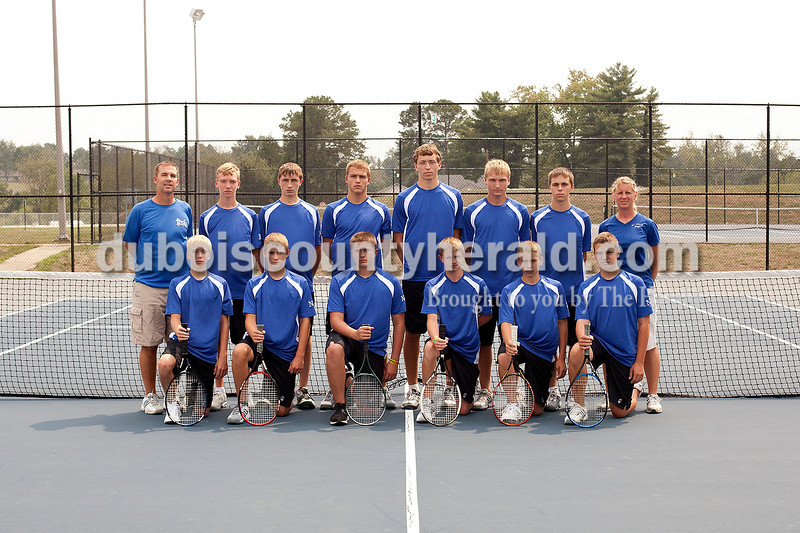 Members of the Northeast Dubois boys tennis team are, from left, first row: Jaxon Denu, Cayden Knies, Xavier Main, Kaden Quinn, Tristan Linne and Caleb Scherzinger. Second row: assistant coach Dwayne Knies, Patrick Betz, Wayne Betz, Gage Knies, Tyler Haas, Ethan Kieffner, Bill Schepers and coach Tracy Gutgsell.