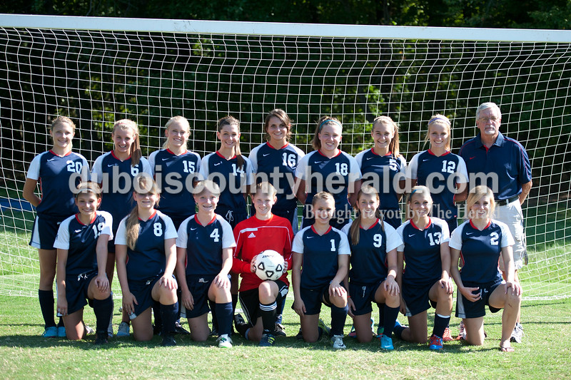 Members of the Heritage Hills girls' soccer team are, from left, first row: Jami Snyder, Windy Yearby, Rebeka Mercker, Madeline Crews, Breigh Haase, Greer Neff, Karaline Staggs, manager Olivia Morris. Second row: Carolyn Burroughs, Paige Priest, Linnea Engberg, Brianna Smith, Kaley Burch, Darby Vinson, Adrianna Oxley, Abbie Busler, coach Doug Satterfield.