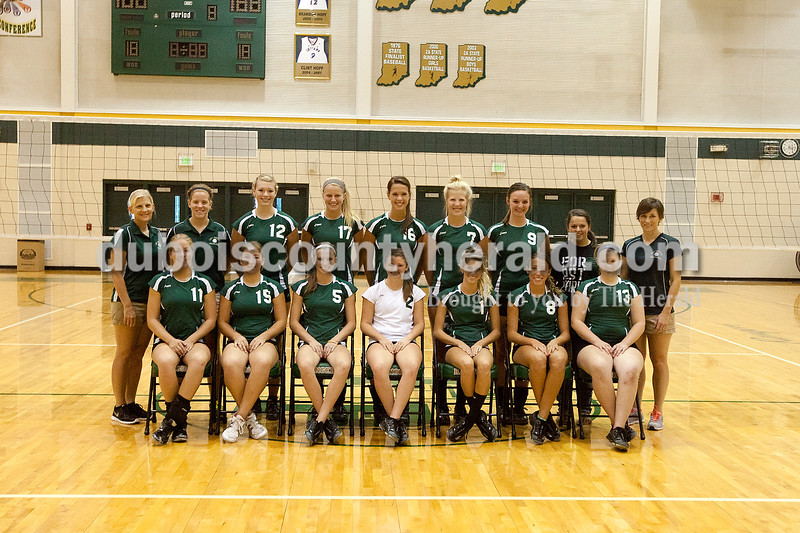 Members of the Forest Park volleyball team are, from left, first row: Amanda Lange, Ericka Lange, Tori Lange, Kayla Brahm, Sydney Berg, Chloe Dilger and Adria Giesler. Second row: head coach Jamie Giesler, assistant coach Kelly Schroering, Mackenzie Weyer, Lydia Lange, Katie Fischer, Kylie Blessinger, Devin Schaefer, manager Emily Weisman and assistant coach Amber Breitweiser.