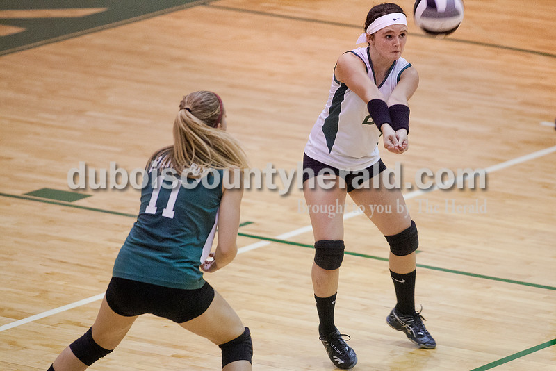 Rachel Mummey/The Herald<br /> Forest Park's Kayla Brahm bumped the ball during their match against South Spencer in Ferdinand on Monday. Forest Park won three of four sets, in which they scored 25-11, 20-25, 25-14, and 27-25.