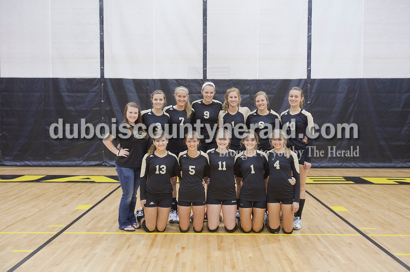 Members of the Jasper volleyball team are, from left, first row: Mariah Moeller, Abby Pierce, Andrea Weidenbenner, Jaclyn Schmitt, and Lydia Scherle. Second row: Student manager Gabbi Skaggs, Katie Krempp, Abby Rogers, Shelby Merder, Tori Sermersheim, Annie Huebner, and Megan Stenftenagel.