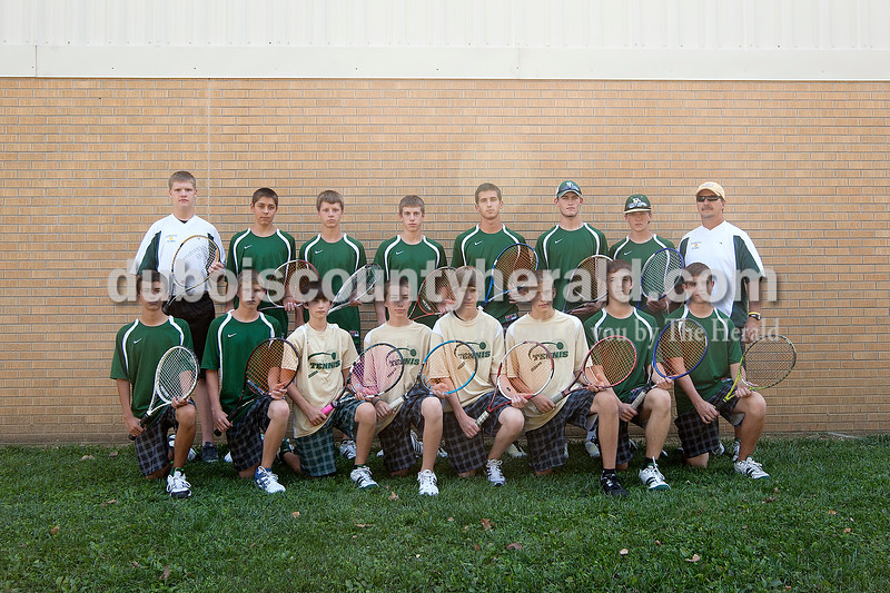 Members of the Forest Park boys tennis team are, from left, first row: Matt Miller, Blake Emmert, Joshua Thomas, Colton Glenn, Isaac Austin, Aaron Meyer, Emerson Thayer and Tavis Nord. Second row: Christian Graves, Matthew Nonte, Andy Schlachter, Trent Weyer, Samuel Beckman, Bryan Hurst, Kade Olinger and coach Dean Blessinger.