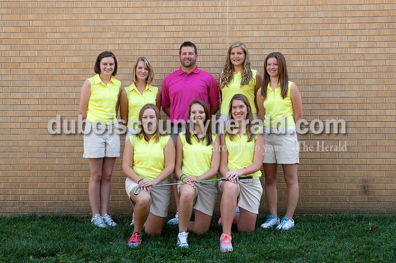 Members of the Forest Park girls golf team are, from left, first row: Amie Weyer, Brie Englert and Kaylyn Gaesser. Second row: Ashley Reckelhoff, Jordan Buechler, coach Bryce Morrison, Hannah Schuler and Rachel Metz.