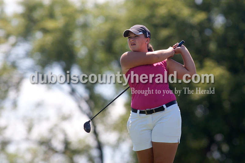 Olivia Corya/The Herald<br /> Jasper's Annie Getzin teed off at the first hole Saturday at Jasper Municipal Golf Course.