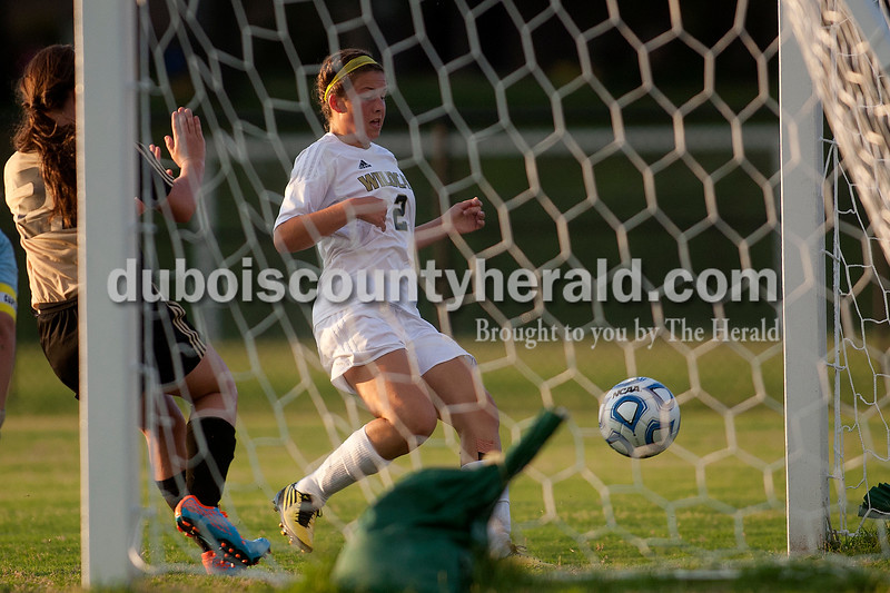 Dave Weatherwax/The Herald<br /> Jasper's Emily Jones tapped in the Wildcats' second goal against Corydon Central during Monday night's game in Jasper. The Wildcats won 2-1.