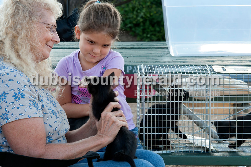 Olivia Corya/The Herald<br /> Kelsey Schmalenberger of Jasper, 5, pet one of several kittens being given away for free by Tonda Fehribach of Holland at the Jasper Farmer's Market on Saturday morning. The market's facebook page announced people could bring their pets to sell or give away at the market. Fehrinbach said a stray mother cat had brought the kittens to her home, and now she needed to find a new home for them.