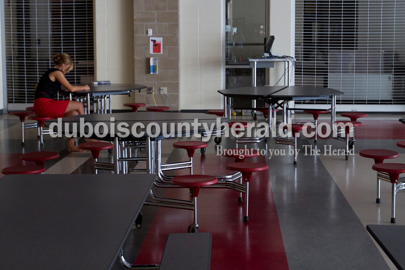 Olivia Corya/The Herald<br /> Haley Langebrake of Holland, 16, studied her answers to a list of interview questions she might be asked during the Herbstfest Queen Pageant in the cafeteria of Southridge High School on Sunday.