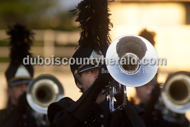 Olivia Corya/The Herald<br /> Jasper sophomore Alex Cassidy performed with his marching band during the ISSMA band districts at Jerry Brewer Alumni Stadium in Jasper on Saturday.