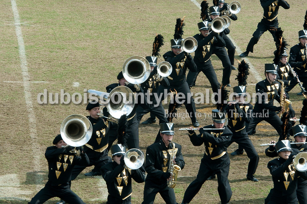Olivia Corya/The Herald<br /> Forest Park's marching band performed during the ISSMA band districts at Jerry Brewer Alumni Stadium in Jasper on Saturday. They were awarded gold.
