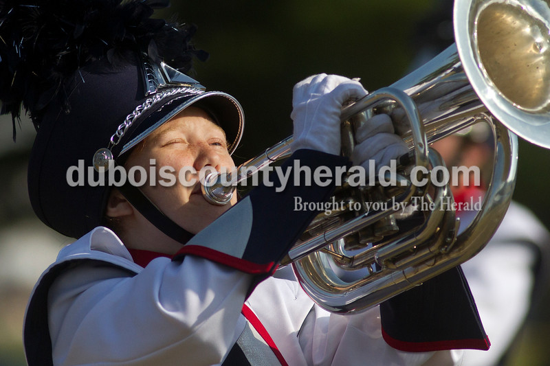 Olivia Corya/The Herald<br /> Heritage Hills sophomore Ashley Gentry performed with her marching band during the ISSMA band districts at Jerry Brewer Alumni Stadium in Jasper on Saturday.