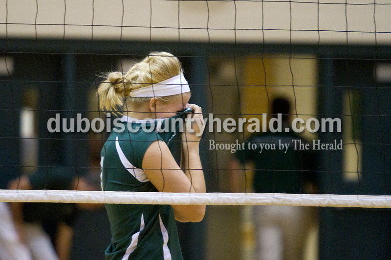 Olivia Corya/The Herald<br /> Forest Park's Kylie Blessinger teared up after the Lady Rangers lost Tuesday's Class 2A girls volleyball sectional game against Evansville Mater Dei at Forest Park 3-0.