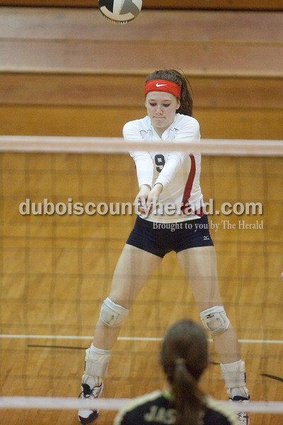 Rachel Mummey/The Herald<br /> Heritage Hills' Miriah Leibering dug the ball during their match against Jasper in the Class 3A volleyball sectional championship at Cabby O'Neill Gymnasium on Saturday.