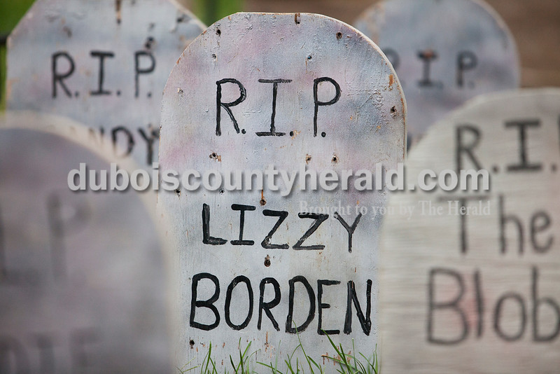Famous monsters and serial killers like Lizzy Borden, Freddy Krueger, The Mummy, The Blob and Frankenstein donned the headstones of the Kline's cemetery in their front yard on Oct. 5. Lizzy Borden was an American woman tried and acquitted for killing her father and stepmother with an axe in 1892.