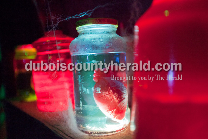A human heart was just among one body part stored and shelved in the haunted house. It was accompanied by eyeballs, hands and various specimens of vermin.