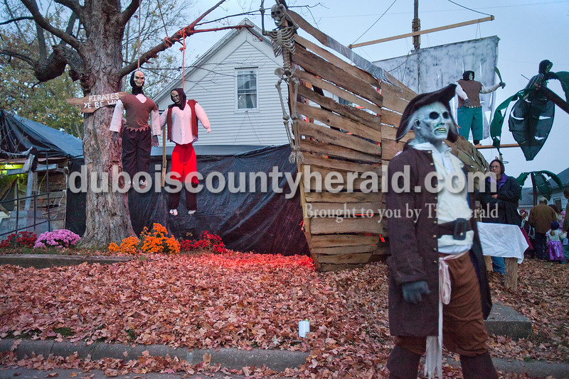 Dressed as a zombie pirate Barry Kline of Huntingburg walked around enticing trick or treaters to enter the haunted pirate ship he and his family had built in the front yard of their home on N. Sycamore St. on Halloween night.