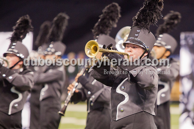 Southridge freshman Gage Kunz marched while playing the trumpet at the Indiana State School Music Association State Marching Band Finals in Indianapolis Saturday.