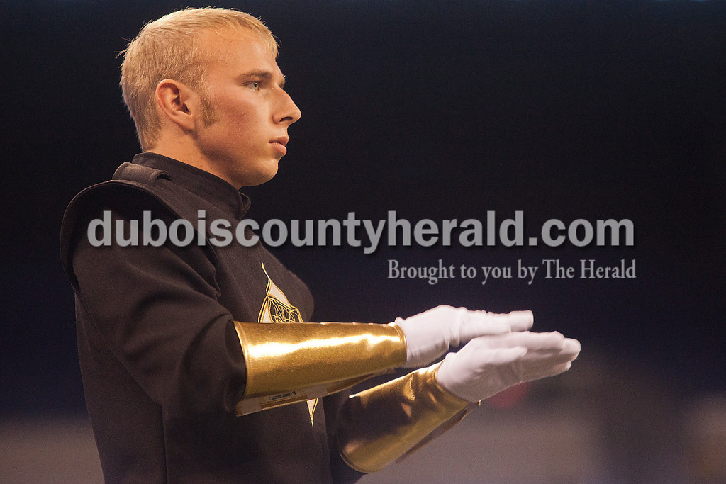 Forest Park drum major junior Travis Vonderheide conducted the Rangers' marching band at the Indiana State School Music Association State Marching Band Finals in Indianapolis Saturday.