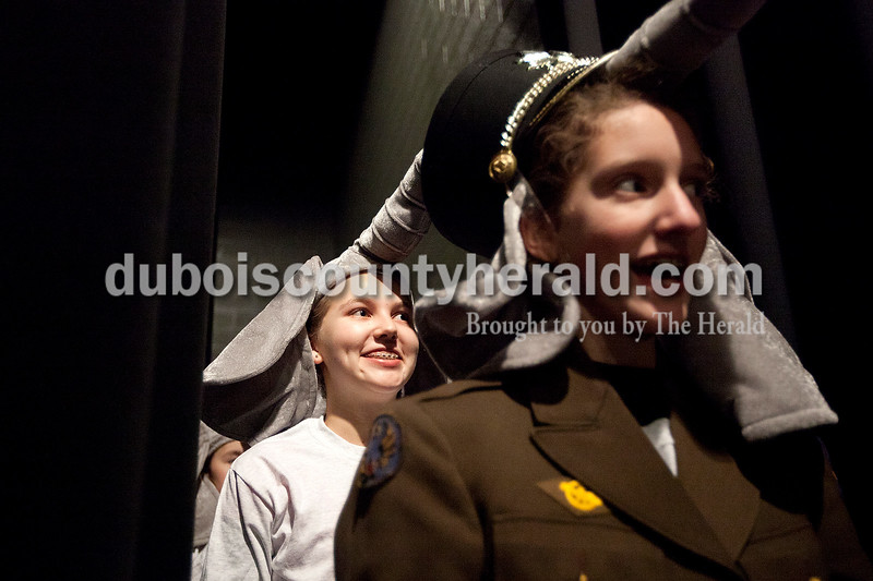"""Dave Weatherwax/The Herald<br /> Anna Wagner, 13, left, and Emma Grow, 12, both of Jasper, waited offstage in their elephant costumes for their cue to enter the auditorium stage during a rehearsal of """"The Jungle Book"""" on Saturday at the Jasper Middle School. Forty-three area children will be performing in the musical presented by Dance Central Academy of Performing Arts at the school auditorium. Performances are at 3 p.m. and 5 p.m. on Saturday, and at 3 p.m. on Sunday."""