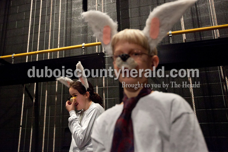 """Dave Weatherwax/The Herald<br /> Miranda Keller of Dale, 11, left, and Ben Hochgesang of Jasper, 11, waited backstage dressed as wolves during a dress rehearsal for """"The Jungle Book"""" on Saturday at the Jasper Middle School auditorium."""