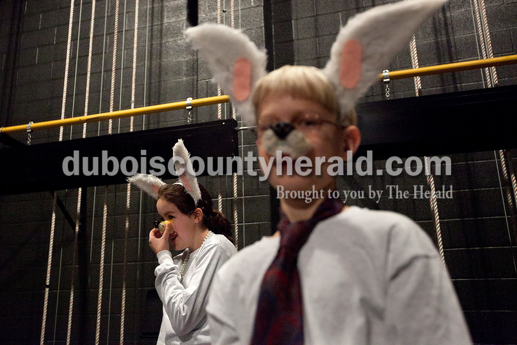 "Dave Weatherwax/The Herald<br /> Miranda Keller of Dale, 11, left, and Ben Hochgesang of Jasper, 11, waited backstage dressed as wolves during a dress rehearsal for ""The Jungle Book"" on Saturday at the Jasper Middle School auditorium."