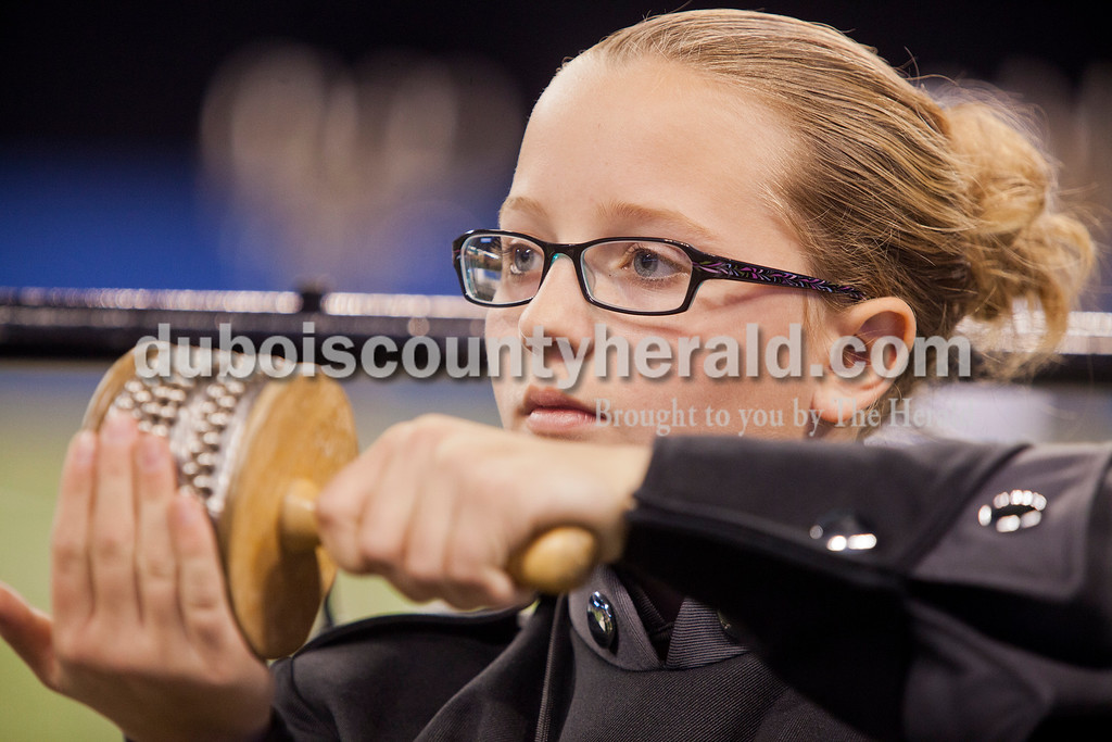 Southridge eighth grader Morgan Brown played the cabasa at the Indiana State School Music Association State Marching Band Finals in Indianapolis Saturday