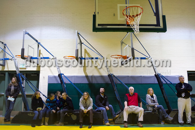 Olivia Corya/The Herald<br /> Late arrivers had to line the back wall of the gymnasium as the stands were packed during the Indiana Academic Spell Bowl Elementary Division at Ireland Elementary School on Thursday night.