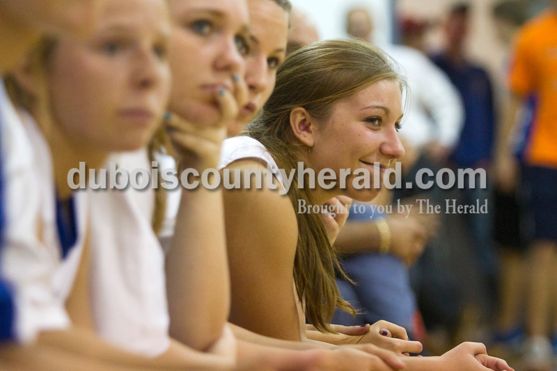Olivia Corya/The Herald<br /> Northeast Dubois' Jenna Stemle watched Saturday night's basketball game against Heritage Hills in Dubois. The Jeeps defeated the Patriots 37-32.