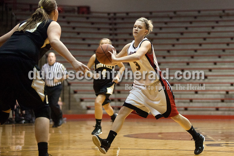 Southridge's Kabrea Robling passed the ball during Monday night's game against Boonville at Memorial Gym in Huntingburg. Dave Weatherwax/The Herald