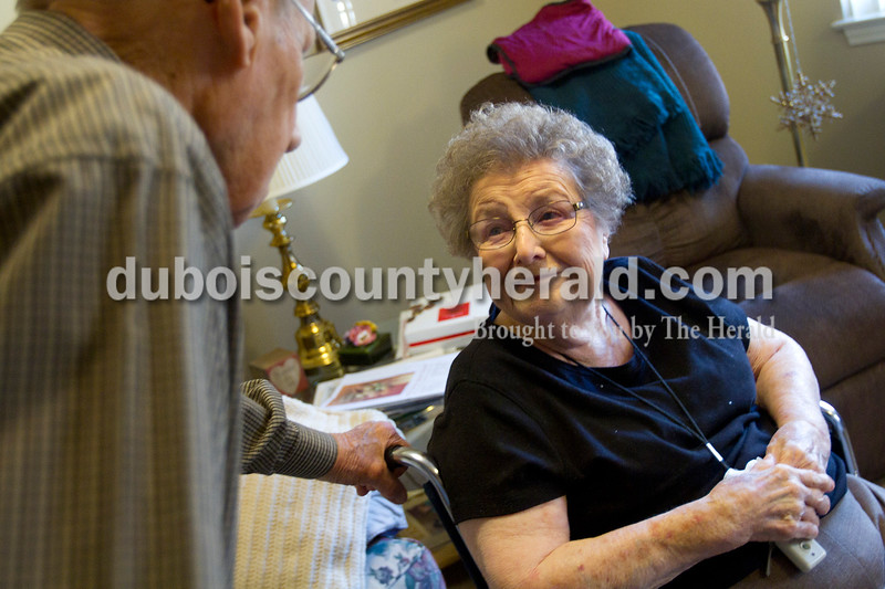 Olivia Corya/The Herald<br /> Brookside Village Senior Living Community resident Helen Bohnert smiled at her husband Charles after receiving a complementary makeover in celebration of the couple's 65th wedding anniversary on Sunday morning. Later that day, friends and family came for a special open house in honor of the occasion. Helen said the star treatment made her feel very special.
