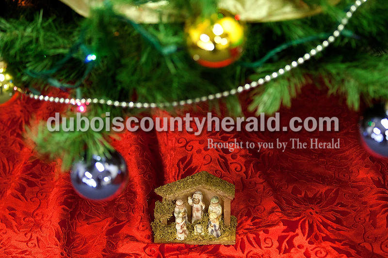 A small nativity scene sat below a decorated Christmas tree in the Bistro Dining Room of the Ruxer Student Center at Vincennces University Jasper Campus