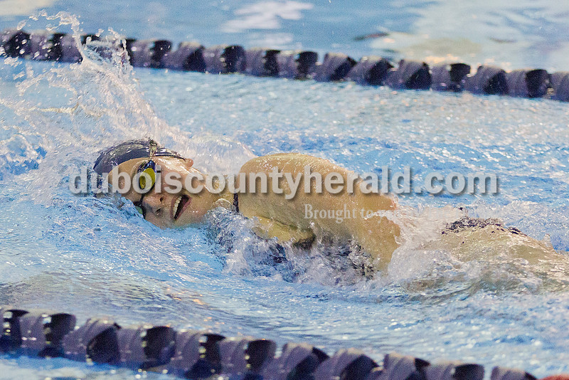 Rachel Mummey/The Herald<br /> Heritage Hills' Emma Burns swam in the first leg of the girls 400  yard freestyle relay during the Patriots meet against Southridge in Lincoln City on Monday.