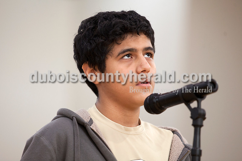 Rachel Mummey/The Herald<br /> Eighth-grader Abner Trinidad took a moment to think before responding during the geography bee at Jasper Middle School on Friday.