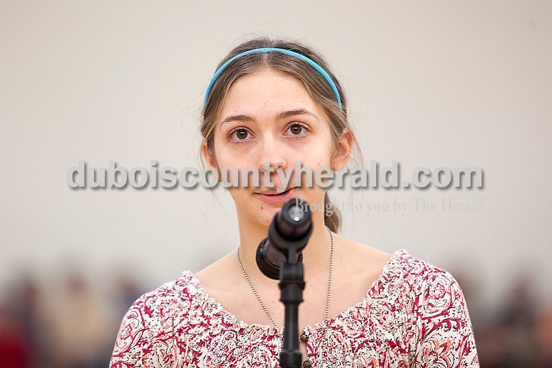 Rachel Mummey/The Herald<br /> Eighth-grader Abigail Hopf gave her response during the geography bee at Jasper Middle School on Friday.