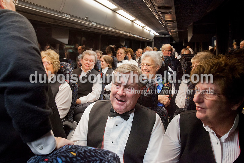 Denny Springston of Jasper, and his wife, Jeanette, right, joined fellow Celebration Singers as they loaded on buses headed for Indianapolis to perform in the Inaugural Praise and Worship Service held at the Indiana Convention Center on Jan. 13. The choir's director Larry Feldmeyer of Huntingburg said Lieutenant Governor Sue Ellspermann called him personally to ask if the choir could participate in the service.