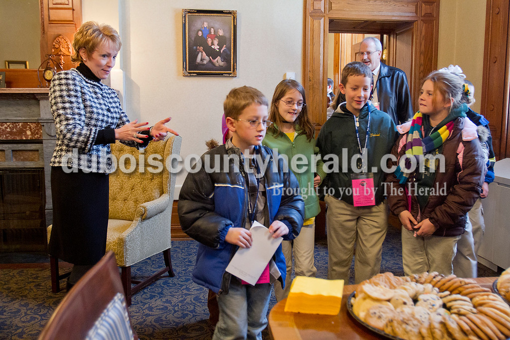 Ferdinand Elementary School fourth-graders Isaac Fuhrman, Ashlee Atchison, Gabe Sermersheim and Kaylee Uebelhor were greeted by Lieutenant Governor Sue Ellspermann in her office after they participated in the inauguration by saying the Pledge of Allegiance at the State Capitol on Jan. 14.