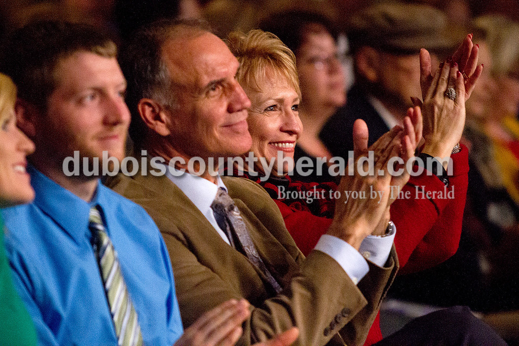 Lieutenant Governor Sue Ellspermann and her husband Jim Mehling of Ferdinand clapped as they listened to the Celebration Singers during the Inaugural Praise and Worship Service held at the Indiana Convention Center on Jan. 13. The choir's director Larry Feldmeyer of Huntingburg said Lieutenant Governor Sue Ellspermann called him personally to ask if the choir could participate in the service.