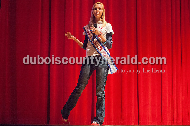Rachel Mummey/The Herald<br /> Former Miss Teen America and current Miss Ohio Collegiate Katie Himes of Cynthiana, Kent. spoke to Heritage Hills Middle School students about her experience being cyber bullied at Heritage Hills High School on Friday. Himes also presented with friend, Mike Jones, also of Cynthiana, who was bullied from age 8 to 14.