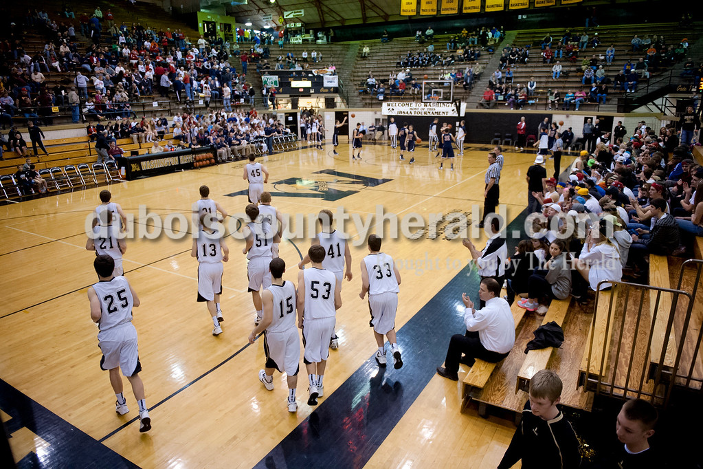 The Jasper Wildcats took the court after halftime during Tuesday's Class 3A boys sectional against Heritage Hills at The Hatchet House gymnasium in Washington. The Wildcats won 81-69 in overtime. Matthew Busch/The Herald