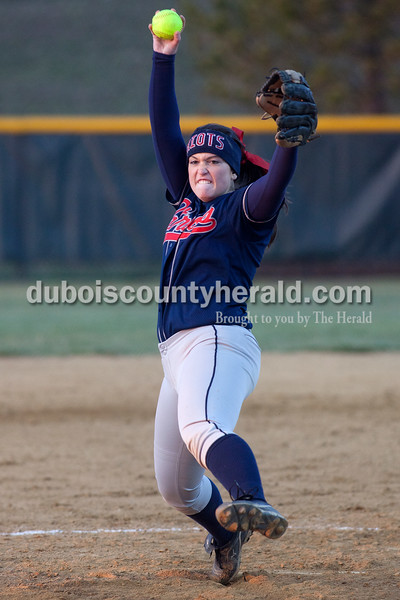 Heritage Hills' Kaitlin Kralj delivered a pitch to a Jasper batter during Tuesday night's game in Jasper. The Wildcats defeated the Patriots 4-1.Dave Weatherwax/The Herald