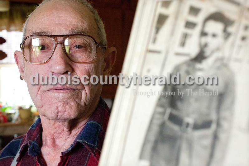 Dave Weatherwax/The Herald<br /> Melvin Schroeder of Holland, 87, may not have seen the front battle lines during World War II, but the role he played as an engineer in the 1st Marine Division was important in supporting the infantrymen. Drafted in November 1944 at age 19, he worked to supply troops with clean water and electricity in China.