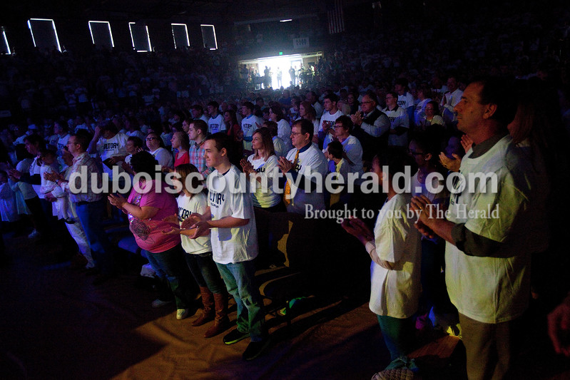 About 2,150 people were in attendance for the Christian Church of Jasper's Easter service Sunday morning at Cabby O'Neill Gymnasium in Jasper. Dave Weatherwax/The Herald