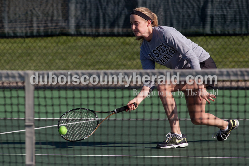 Jasper's Ashley Rogers returned the ball during the No. 1 doubles match of Saturday's match against Greenwood in Jasper. Dave Weatherwax/The Herald