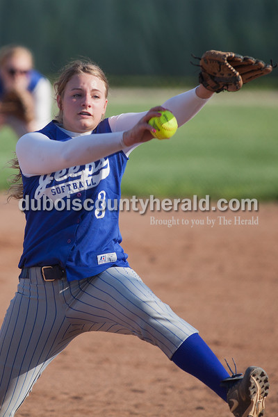 Rachel Mummey/The Herald<br /> Northeast Dubois' Kendra Jacob pitched during Monday night's game against Southridge in Huntingburg. Southridge won 6-4.