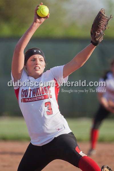Rachel Mummey/The Herald<br /> Southridge's Kendyl Dearing pitched during Monday night's game against Northeast Dubois in Huntingburg. Southridge won 6-4.
